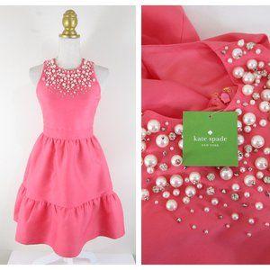 Kate Spade Pink Pearl Embellished Mikado Dress 0